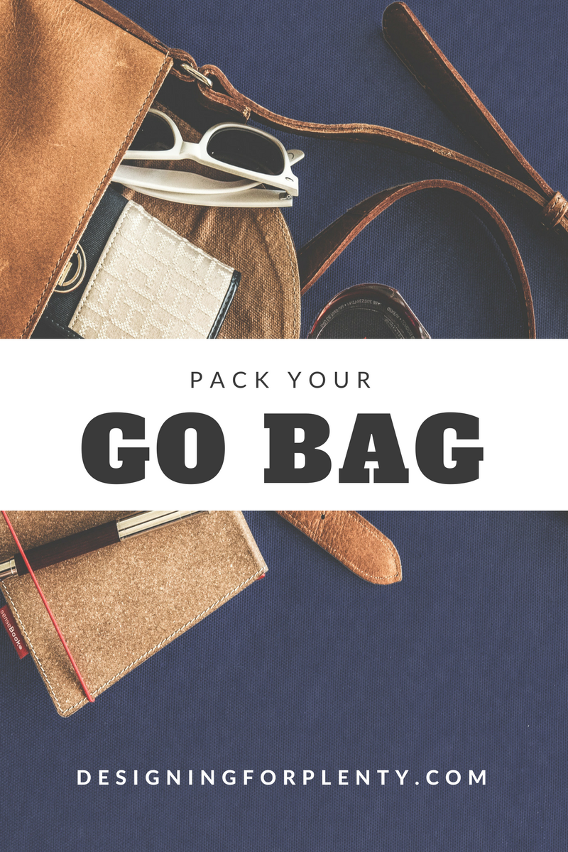 go bag, pack, travel